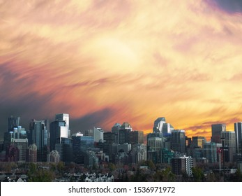 Downtown Calgary with a Dramatic Orange Sunset
