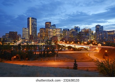 downtown calgary in an evening after sunset