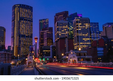 Downtown Calgary light trails glowing at night