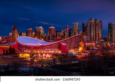 Downtown Calgary skyline glowing at night