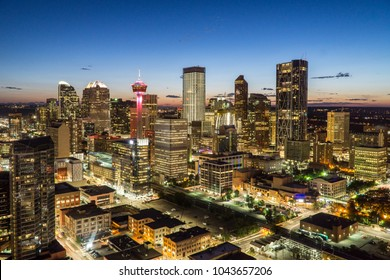 Downtown Calgary skyline at summer sunset, Alberta, Canada