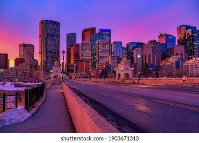 Downtown Calgary skyline at sunrise