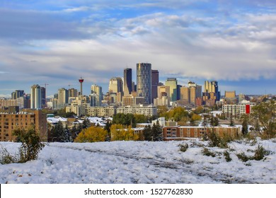 Downtown Calgary skyline in winter