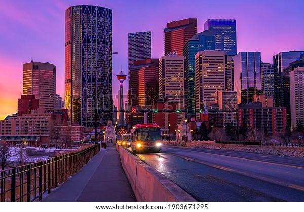 Downtown Calgary traffic at sunrise