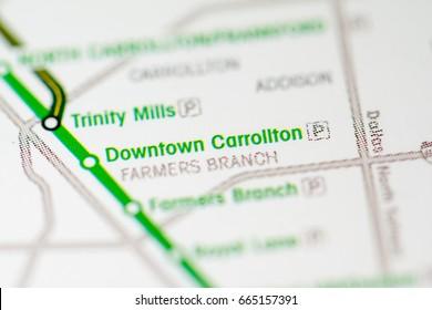 Downtown Carrollton Station. Dallas Metro map.