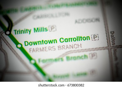 Downtown Carrollton Station. Dallas Metro map.