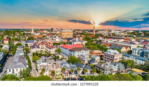 Downtown Charleston South Carolina Skyline Aerial