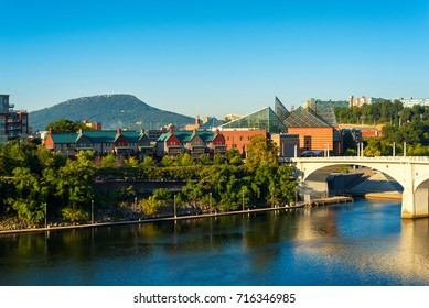 Downtown Chattanooga, Tennessee, with Lookout Mountain rising in the distance