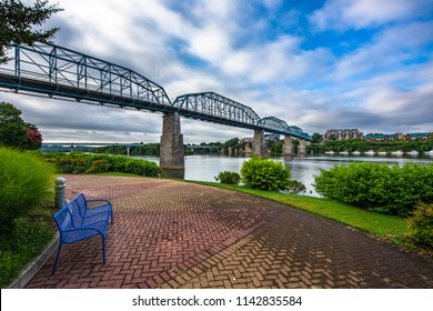 Downtown Chattanooga Tennessee TN Coolidge Park and Market Street Bridge.