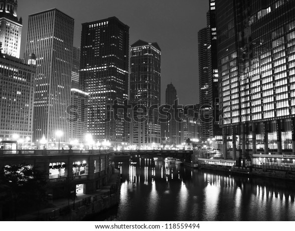 Downtown Chicago in black and white