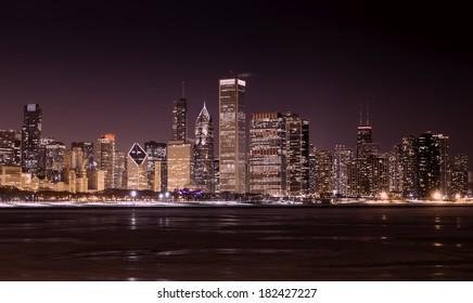 Downtown Chicago - frozen Lake Michigan at night