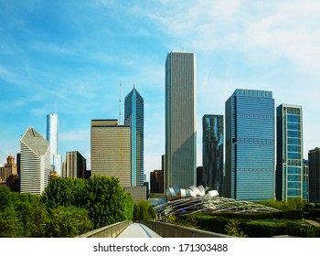 Downtown Chicago, IL on a sunny day