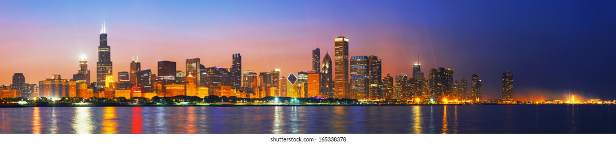 Downtown Chicago, IL at sunset as seen from Lake Michigan