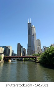 Downtown Chicago, Illinois from Chicago River tour.