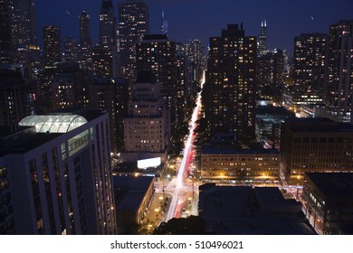 Downtown Chicago Light Trails