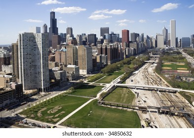 Downtown of Chicago seen from the south side.