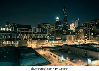 Downtown Chicago South Side at Night. Chicago, Illinois, United States.