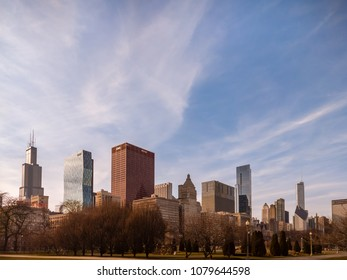 DOWNTOWN CHICAGO, USA-March 18, 2018. Spring scene in Chicago's Grant Park with views of the iconic Loop skyline.