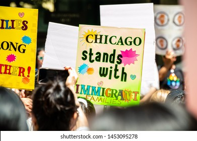 "Downtown, Chicago-July 13, 2019: Protest against Immigration ICE and Border Patrol. A sign reads ""Chicago Stands With Immigrant Families"". Sanctuary City."