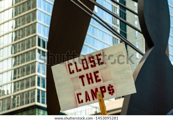 Downtown, Chicago-July 13, 2019: Protest against ICE and Customs and Border Patrol Detention Centers.