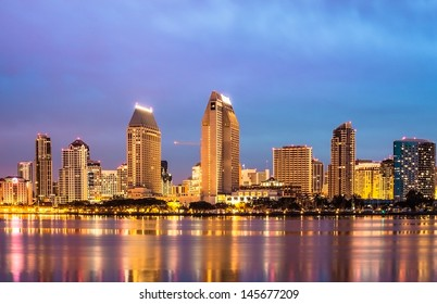 Downtown City of San Diego, California USA, Cityscape with Buildings Reflection