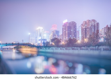 Downtown City skyline along the River in Beijing,China.
