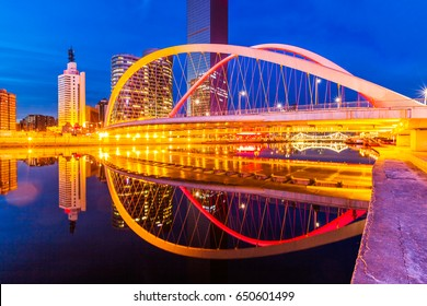 Downtown City skyline along the River at night in Tianjin,China.
