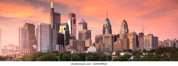 Downtown city skyline panoramic view of Philadelphia Pennsylvania USA over the Schuylkill River and boardwalk
