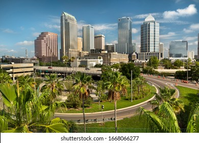 Downtown city skyline view of Tampa Florida USA looking over the freeway and the Riverwalk