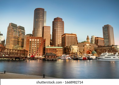 Downtown city view of Boston Massachusetts looking of the riverfront harbor from Fan Pier Park