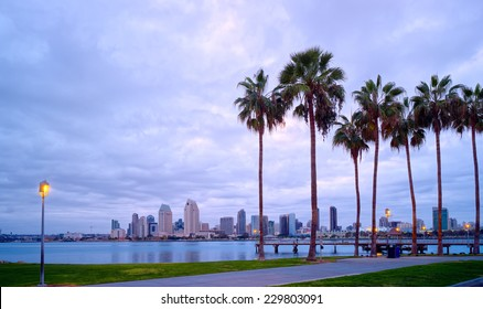 Downtown City View and Palm Trees Panorama, Coronado Island of San Diego, California, USA