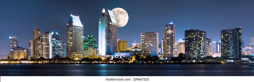 Downtown Cityscape with Buildings Reflecting, City of San Diego, California USA and Moon