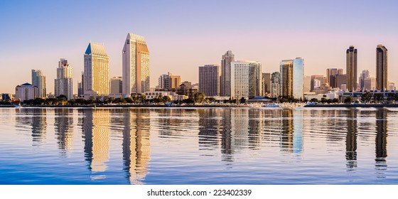 Downtown Cityscape at Dawn, San Diego California USA