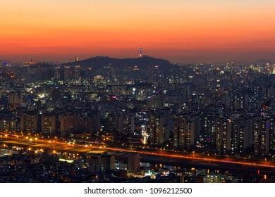 Downtown cityscape of Seoul, South Korea