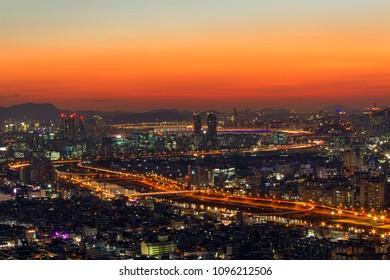Downtown cityscape of Seoul, South Korea.
