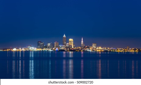 Downtown Cleveland in blue night.