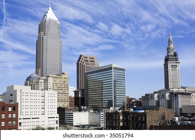 Downtown Cleveland during spring day.