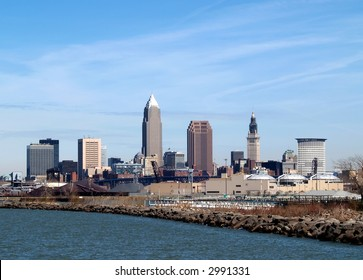Downtown Cleveland Skyline from a waterfront park