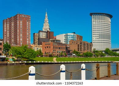Downtown Cleveland from the west bank of the Cuyahoga River