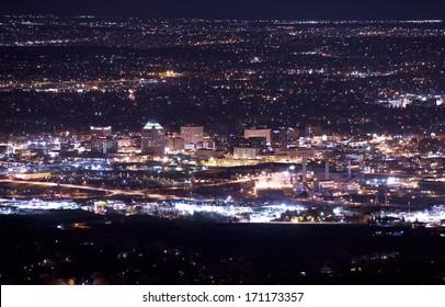 Downtown Colorado Springs at Night. Colorado Springs Night Panorama. United States.