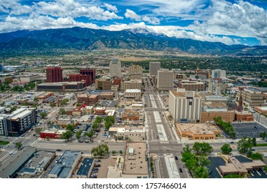 Downtown Colorado Springs with Rocky Mountains and Pike's Peak
