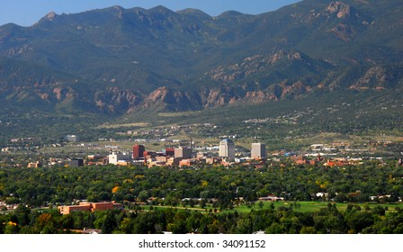 Downtown Colorado Springs, Colorado as seen from Palmer Park, set against the front range of the Majestic Rocky Mountains