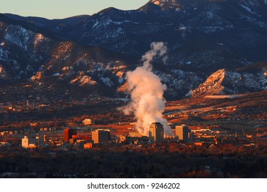 Downtown Colorado Springs, Colorado from the top of Palmer Park