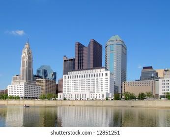 Downtown Columbus, Ohio and the Scioto River.