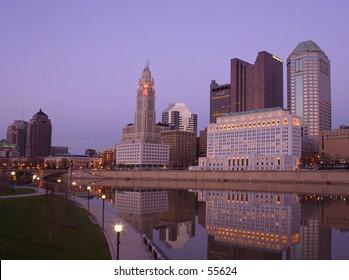 Downtown Columbus skyline at twilight