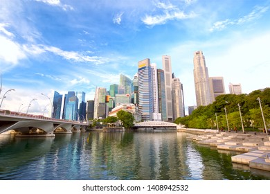 The Downtown Core of Singapore with Anderson Bridge