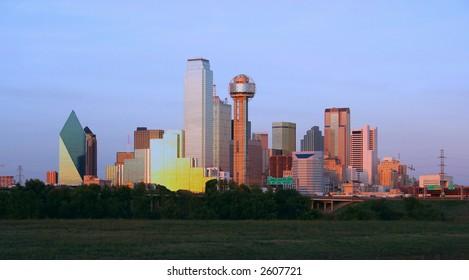 Downtown Dallas, Texas at dusk.
