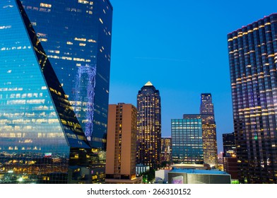 Downtown Dallas, Texas at dusk with the office lights freshly lit