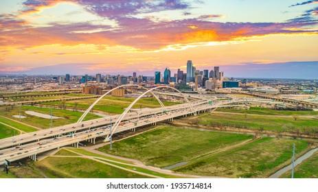 Downtown Dallas, Texas, USA Drone Skyline Aerial Panorama