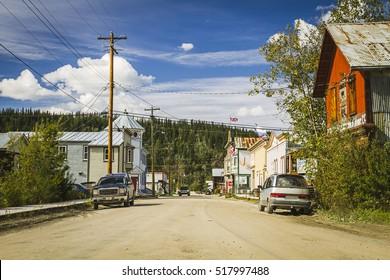 Downtown of  Dawson City - Klondike gold rush town. Former capital of Yukon Territory, Canada. On Klondike Highway and Yukon river, close to polar circle and Alaska.